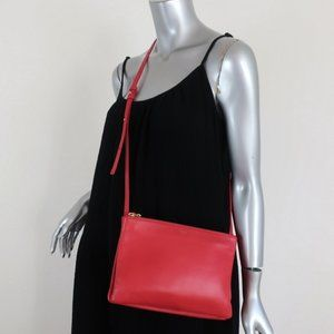 Celine Large Trio Crossbody Bag Red Smooth Leather